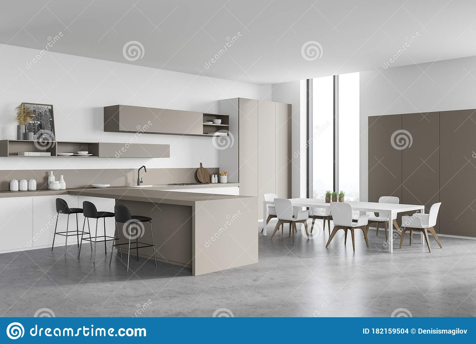 White And Beige Kitchen Corner With Bar And Table Stock Illustration Illustration Of Home Domestic 182159504