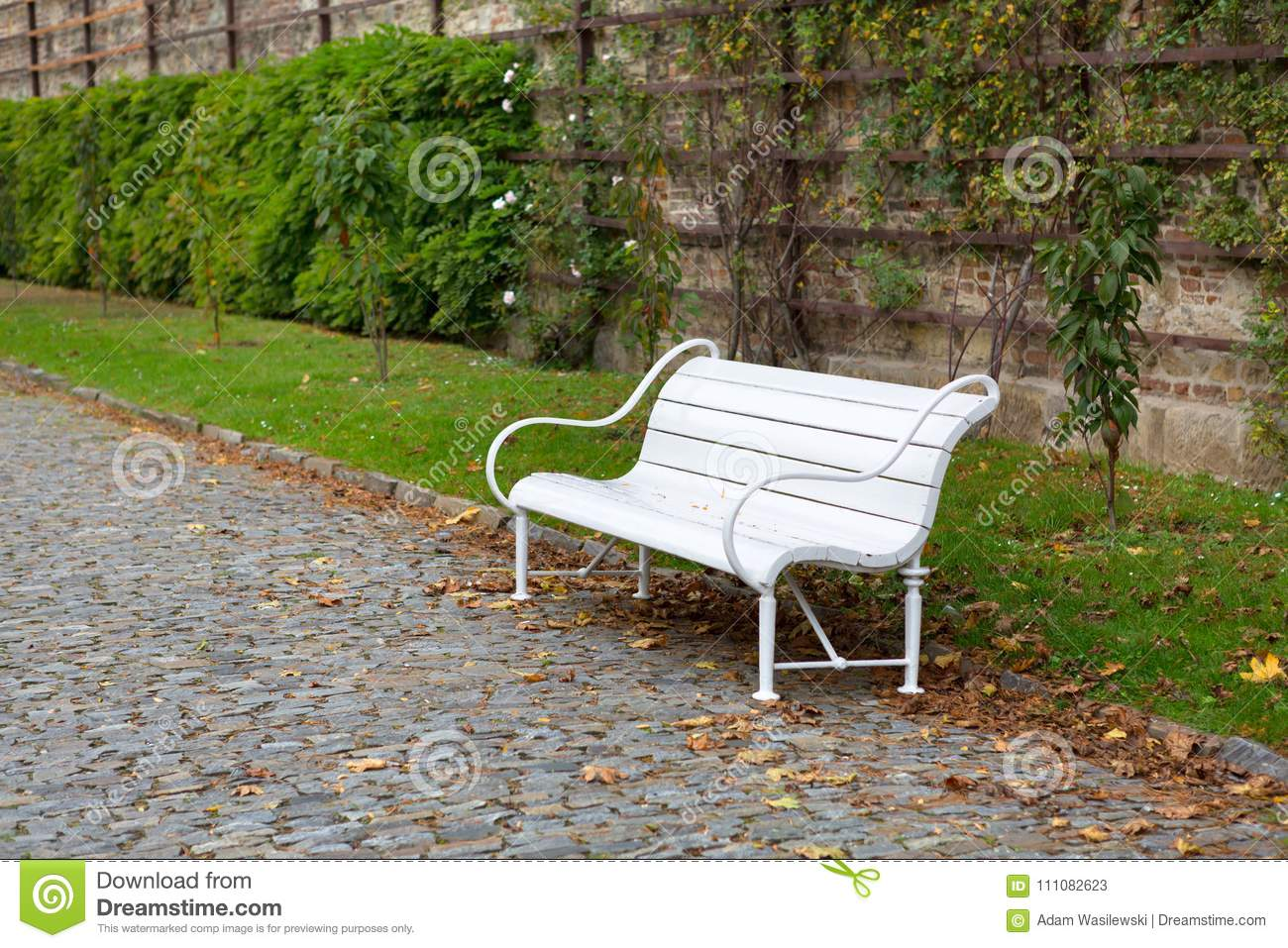 Wondrous White Bench In A Park Stock Image Image Of Outside 111082623 Andrewgaddart Wooden Chair Designs For Living Room Andrewgaddartcom
