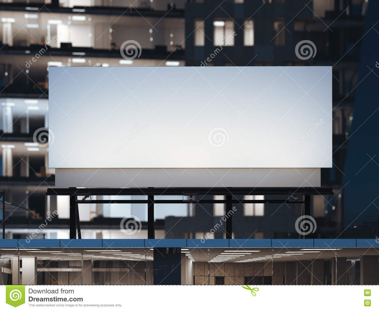 White billboard standing on a modern office building. 3d rendering