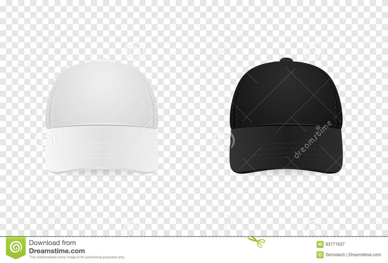 60da9873924 White and black baseball cap icon set. Front view. Design template closeup  in EPS10 vector. Mock-up for branding and advertise isolated on transparent  ...