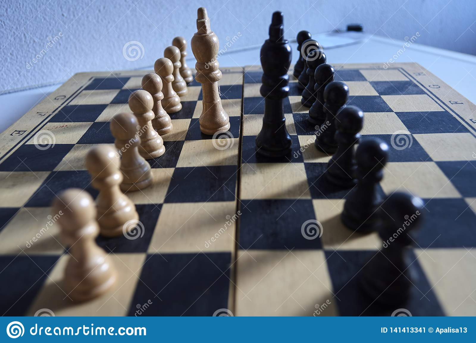 White and black chess kings and pawns on chessboard