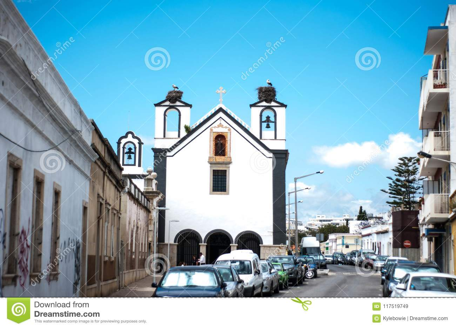 Old church with bird stork nest old city