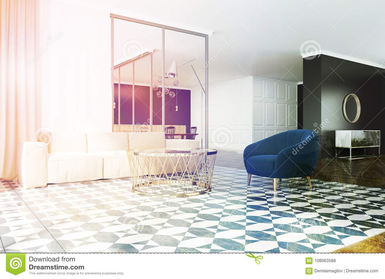 White And Black Living Room Corner, Armchair Toned Stock ...