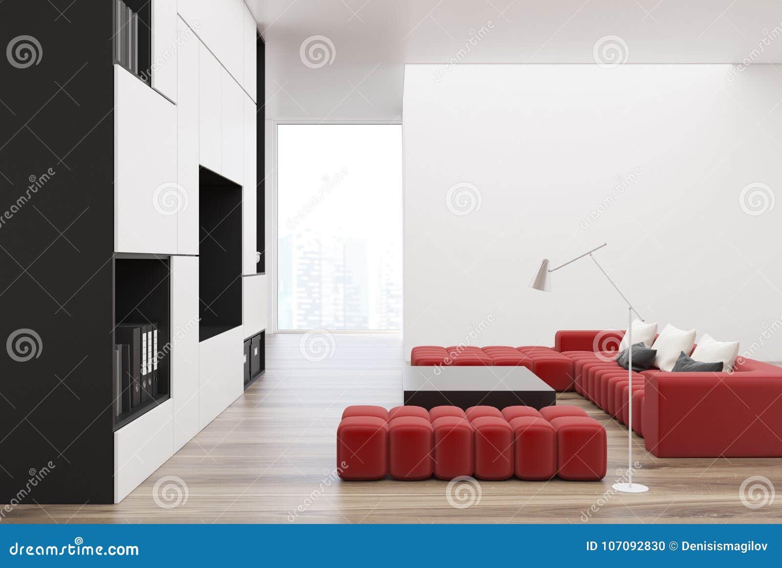 White And Black Living Room, TV, Red Sofa Stock Illustration ...