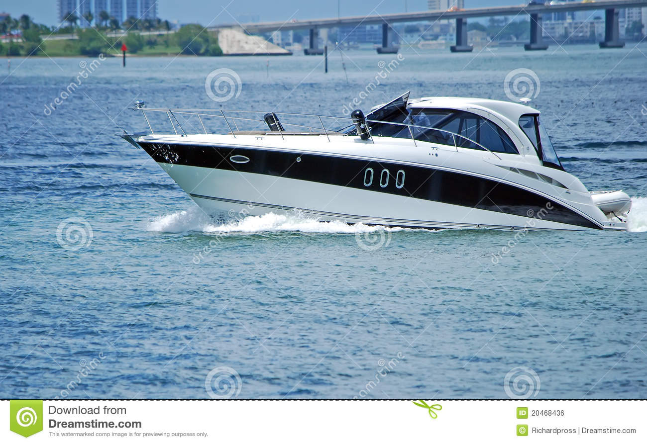 white and black luxury cabin cruiser royalty free stock