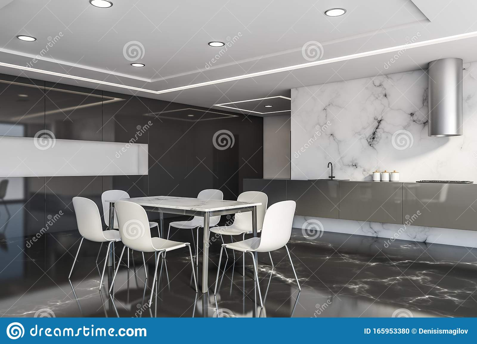 White And Black Marble Kitchen Corner With Table Stock Illustration Illustration Of Kitchen Decorative 165953380