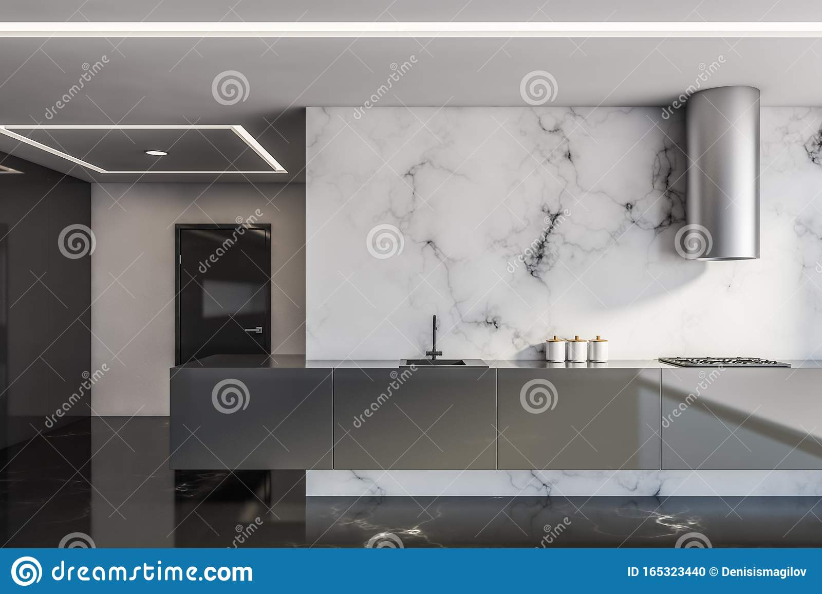 White And Black Marble Kitchen With Countertops Stock Illustration Illustration Of Counter Architectural 165323440