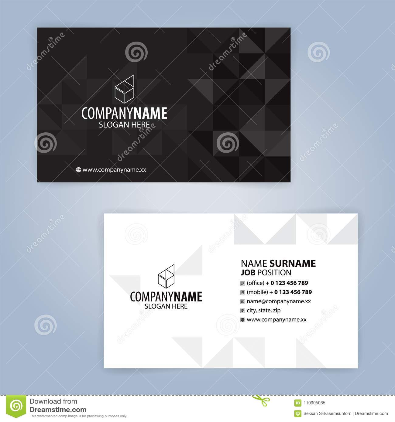 White and black modern business card template stock vector white and black modern business card template flashek Choice Image
