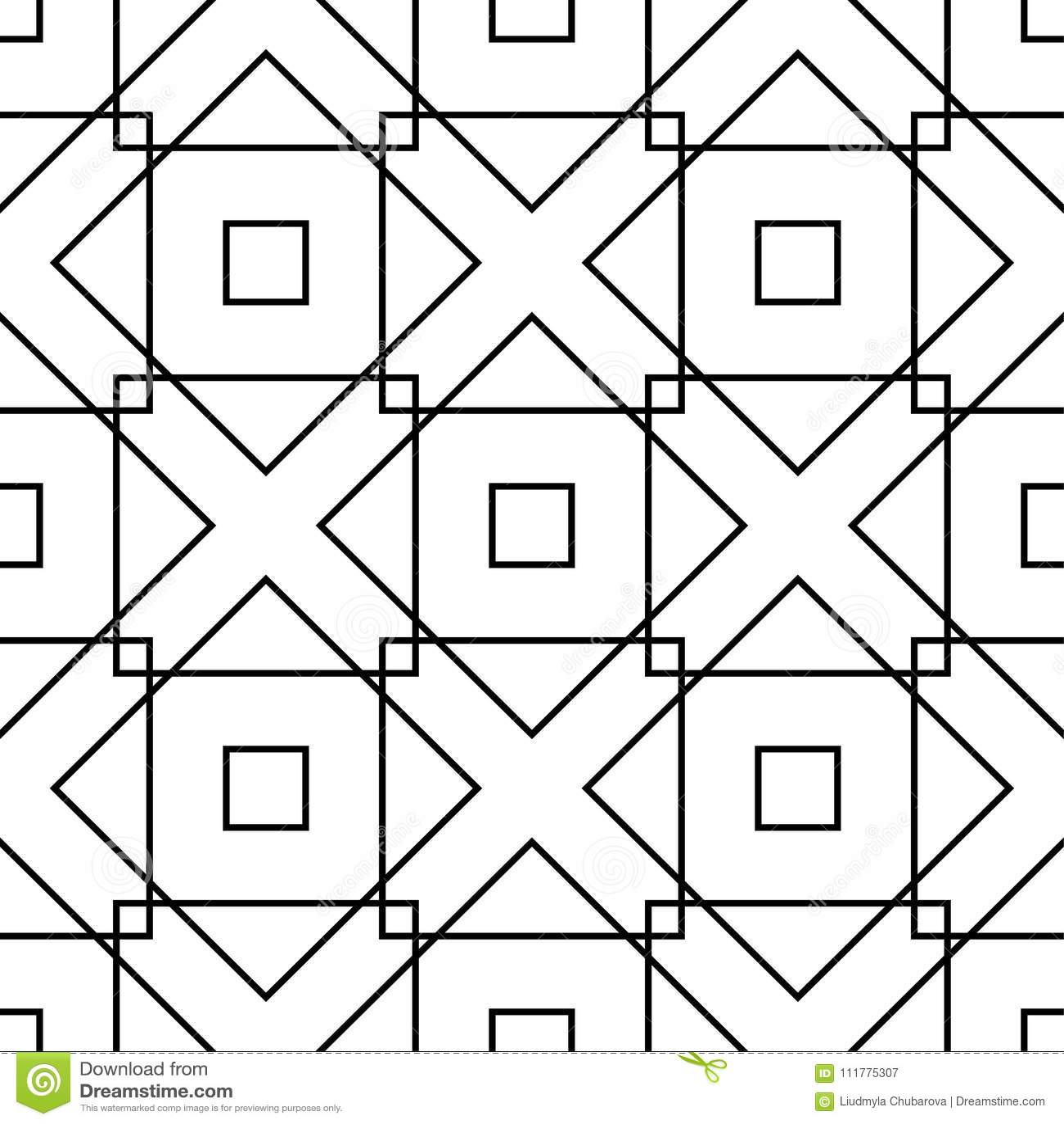White and black monochrome geometric ornament. Seamless pattern