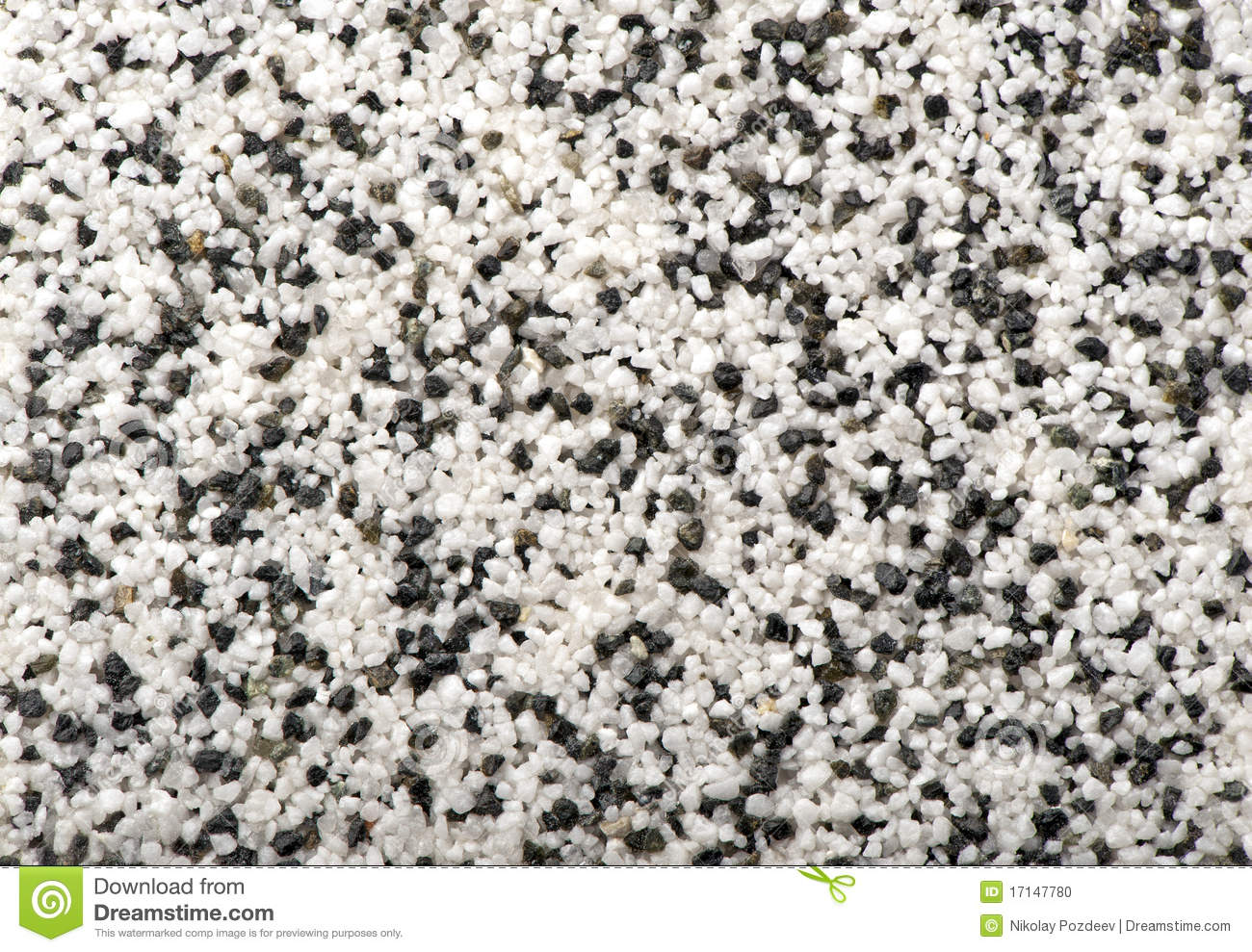 White With Black Natural Marble Chip Plaster Stock Photo