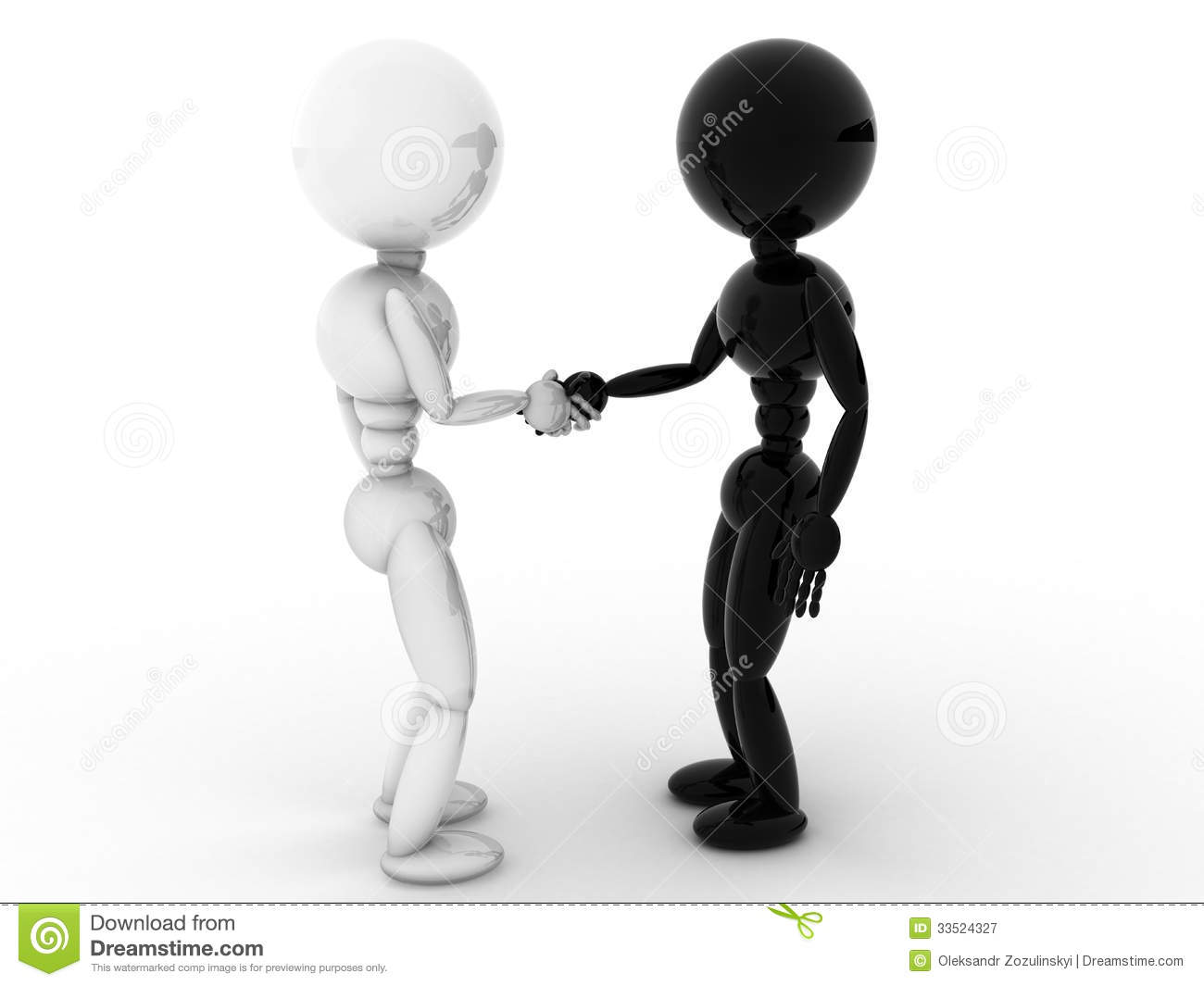White And Black People Shaking Hands #1 Royalty Free Stock