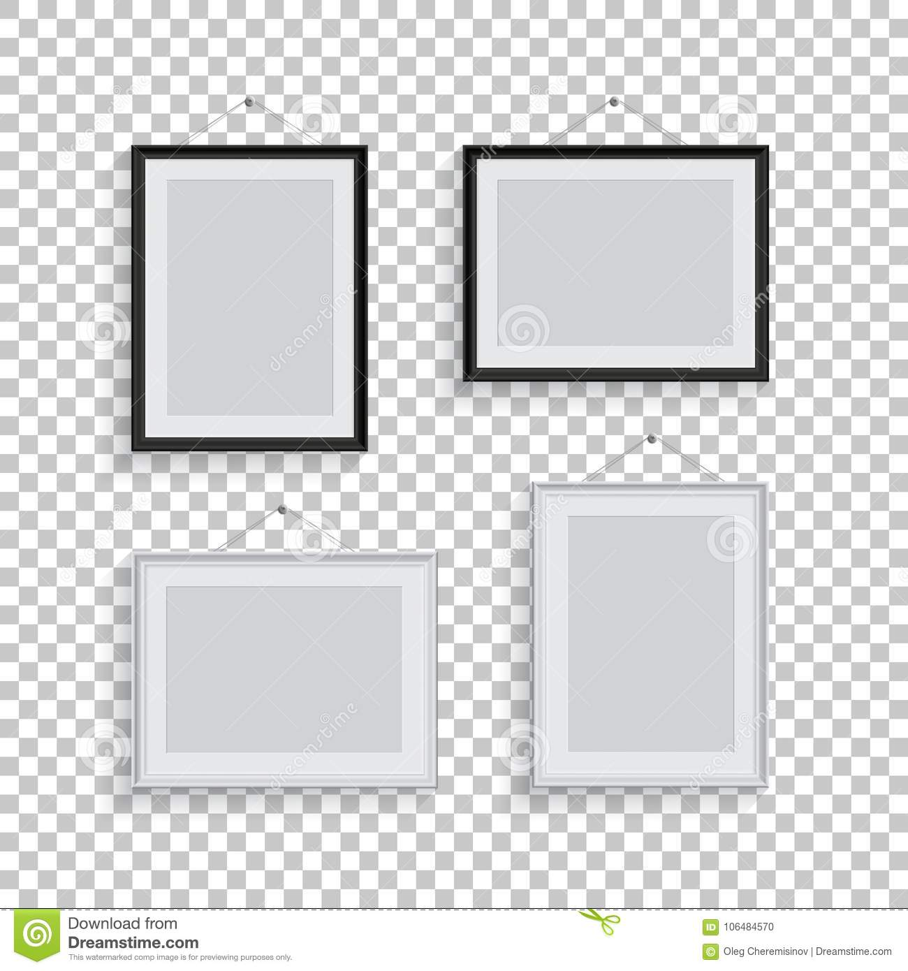 White And Black Picture Or Photo Frames In Different Positions