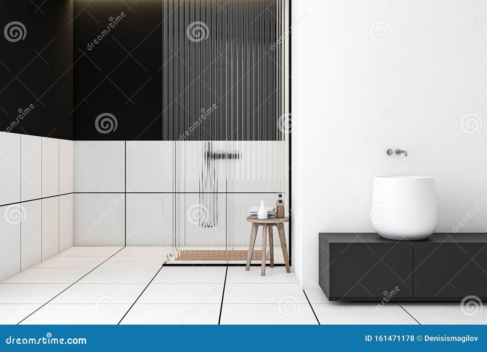 White And Black Tile Bathroom With Sink And Shower Stock Illustration Illustration Of Bowl Black 161471178
