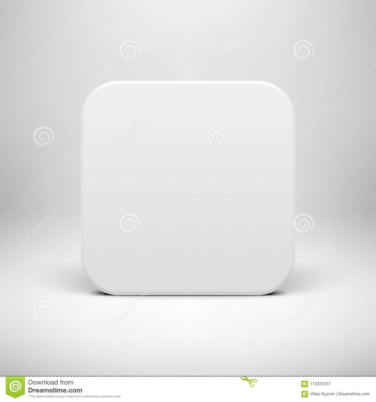 White Blank App Icon Button Template Stock Vector - Illustration of ...