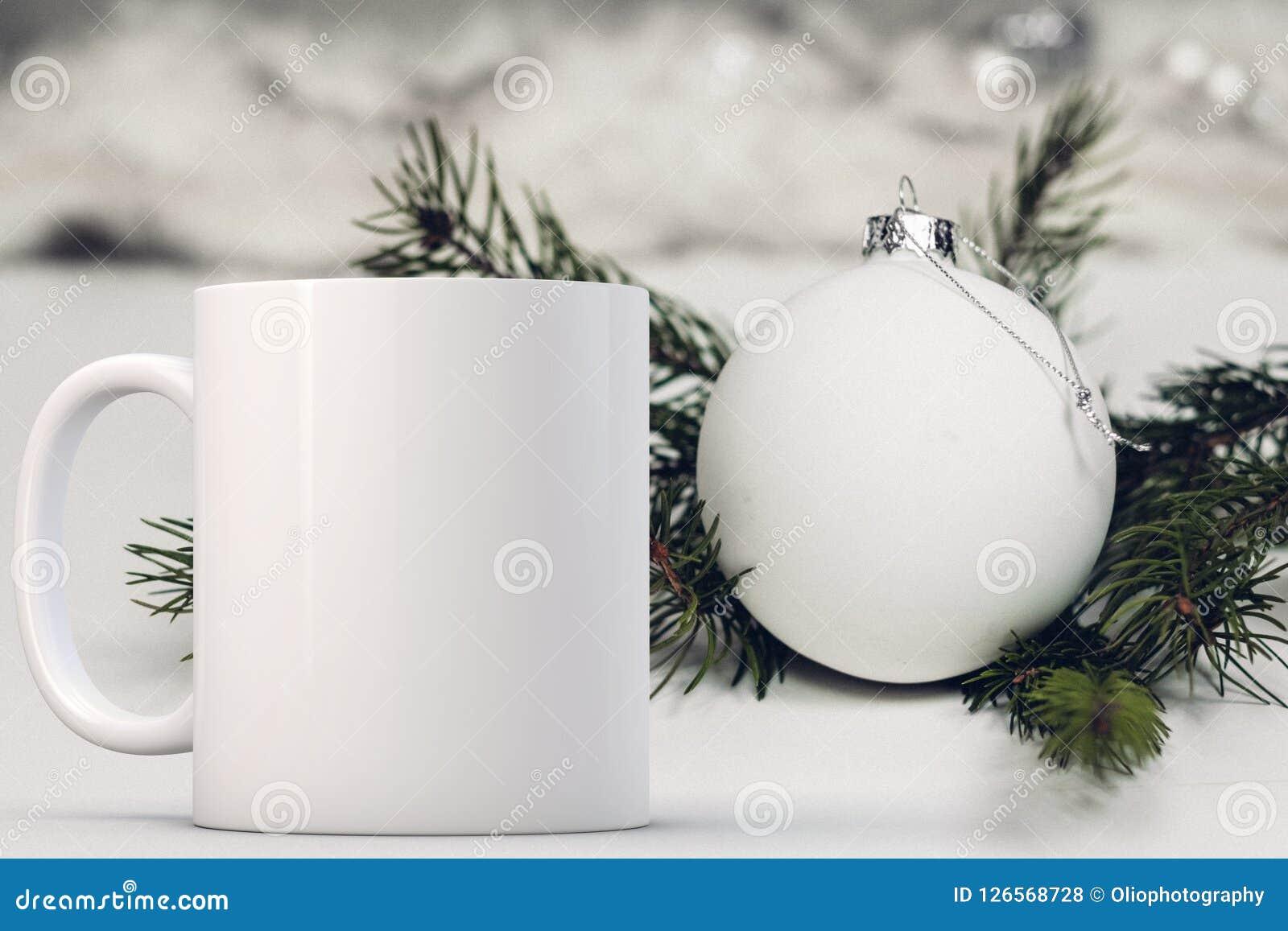 White Blank Coffee Mug Christmas Theme Mock Up Stock Photo Image Of Coffee Design 126568728