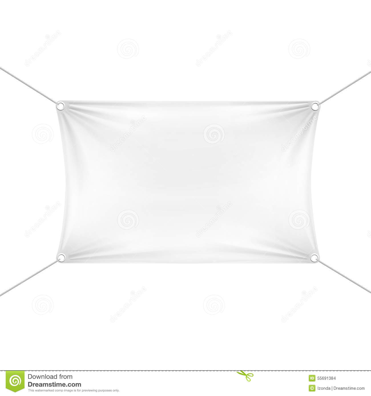White Blank Banner Or Hanging Empty Flag, Vector ...