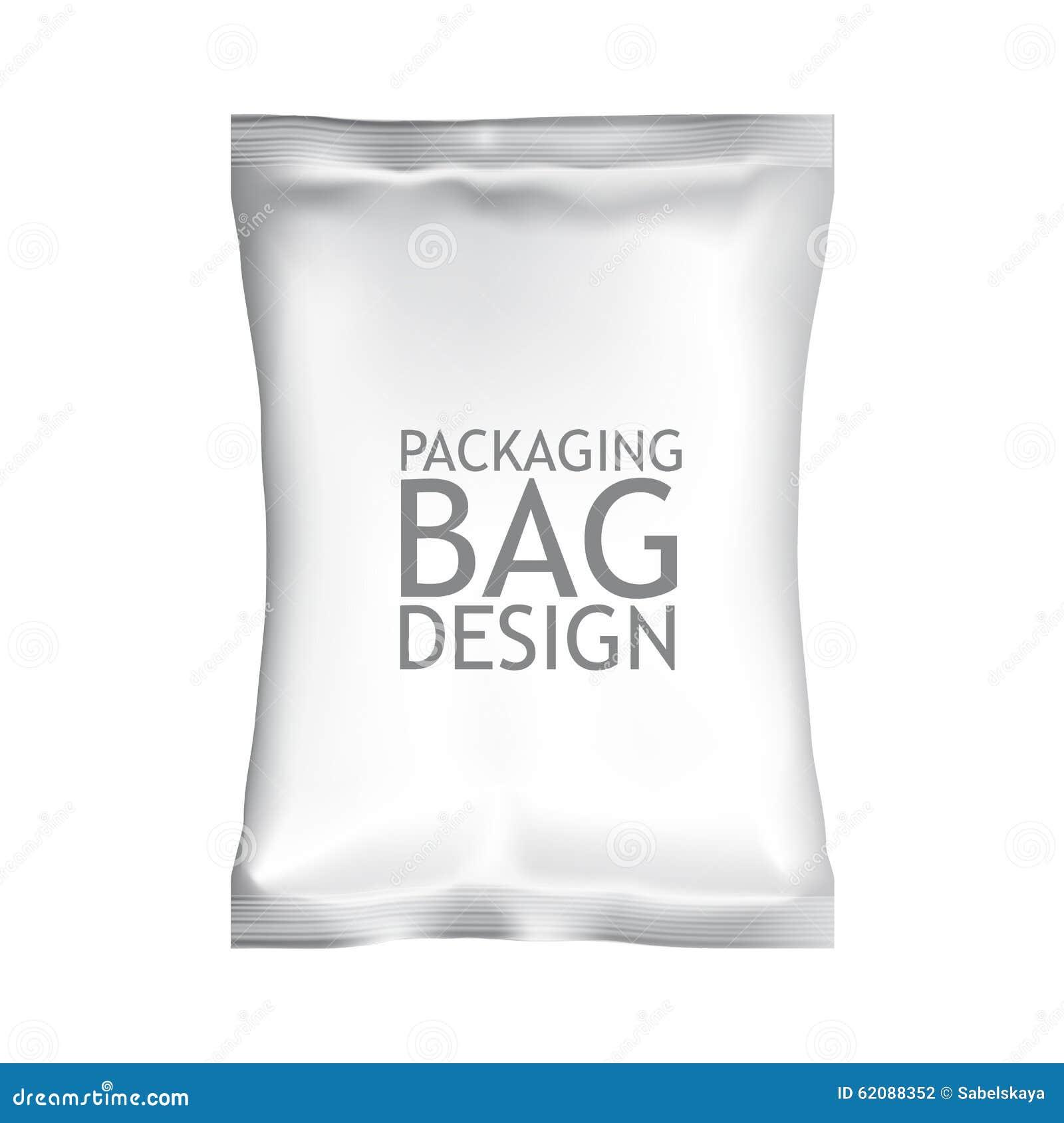 White Blank Foil Food Snack Sachet Bag Packaging Stock