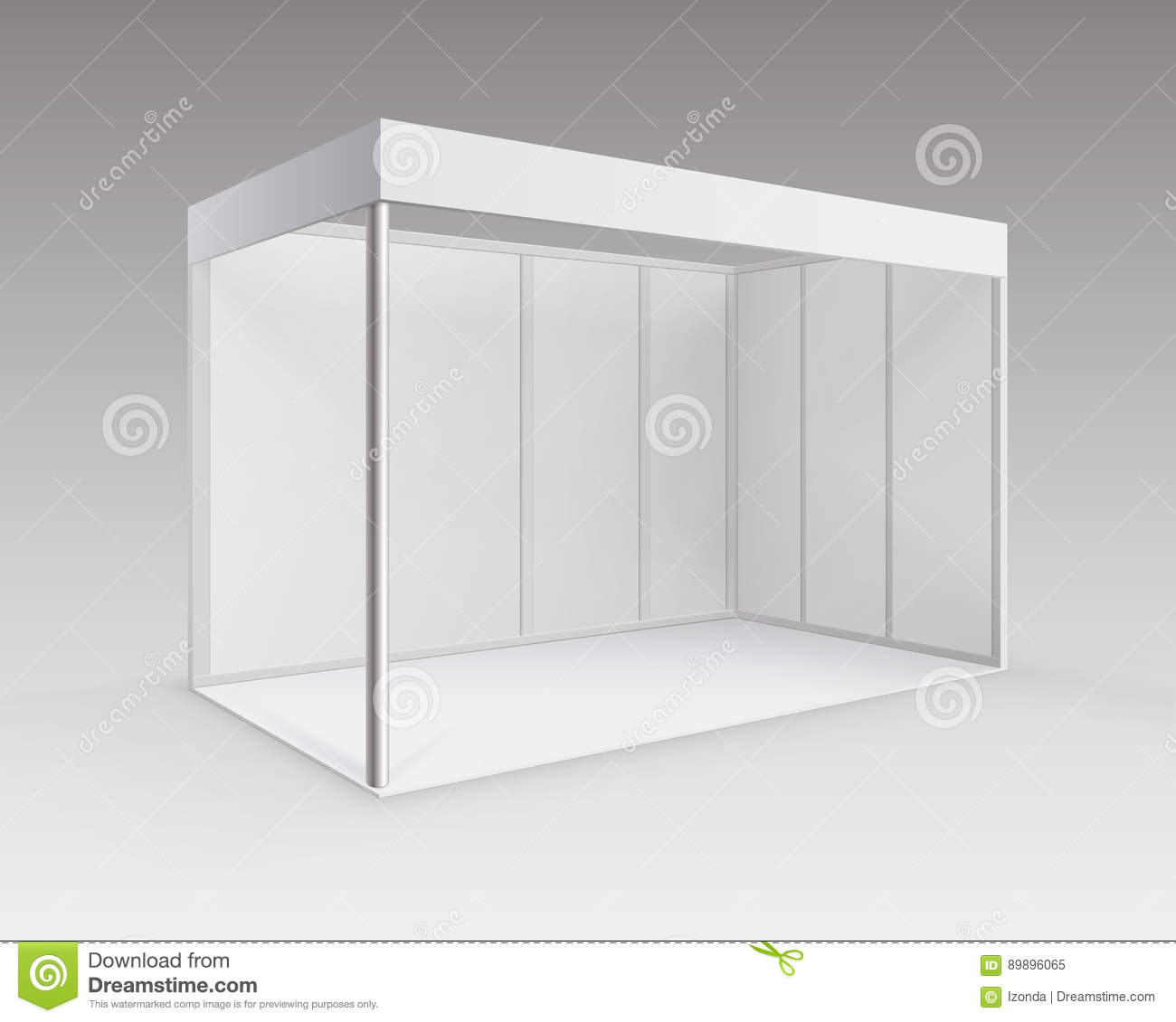 Exhibition Booth Blank : White blank indoor trade exhibition booth standard stand
