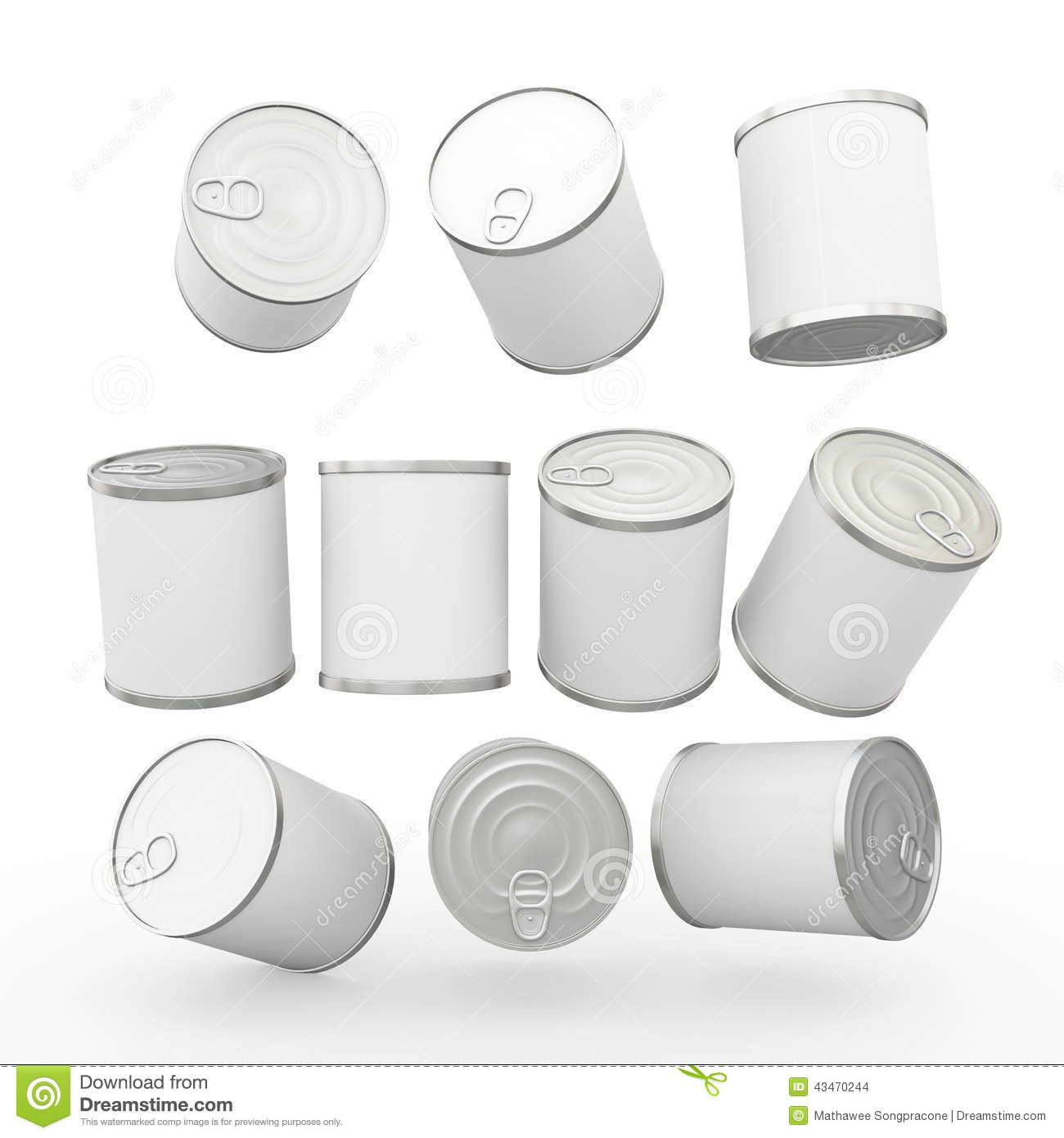 white blank label food can with pull tab  clipping path