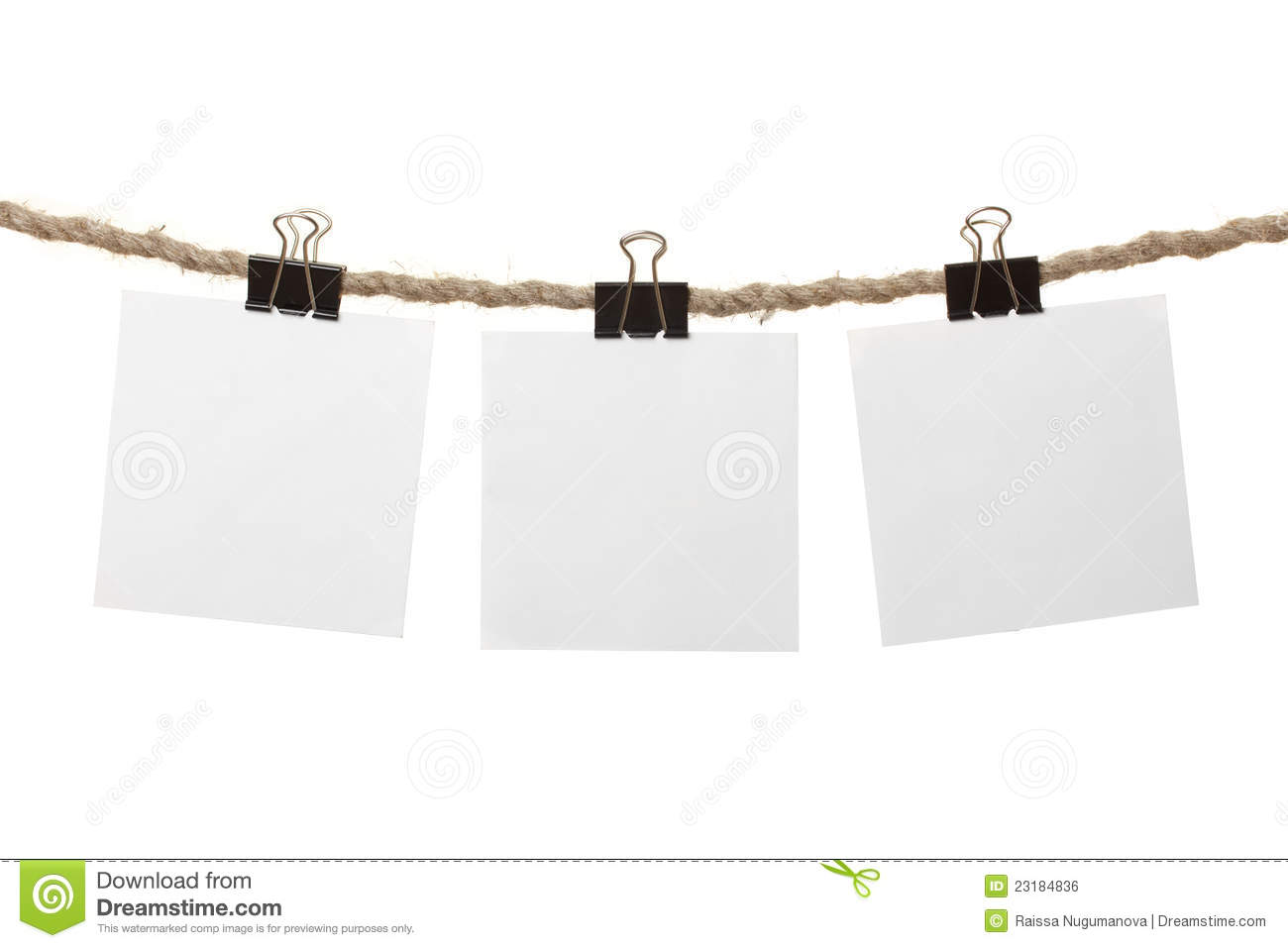 white blank notes hanging on the clothesline royalty free