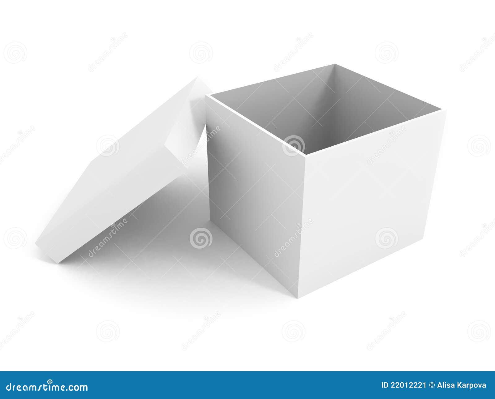 White Blank Open Box Over White Background Stock Image ...