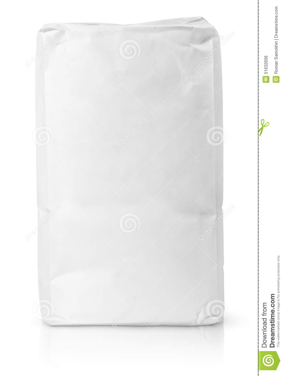 White blank paper bag package of flour