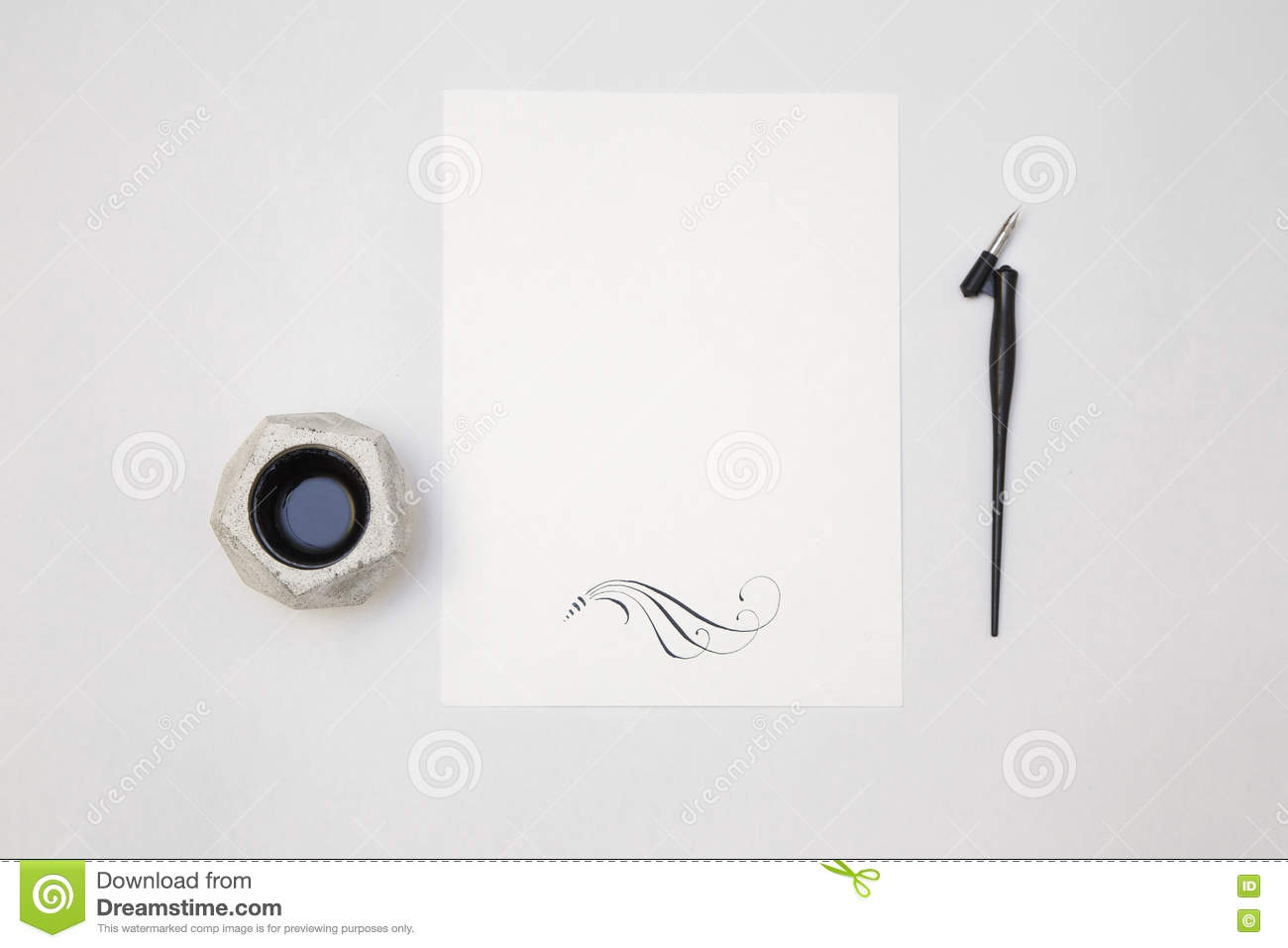 White blank paper sheet mockup with calligraphy nib and ink stock