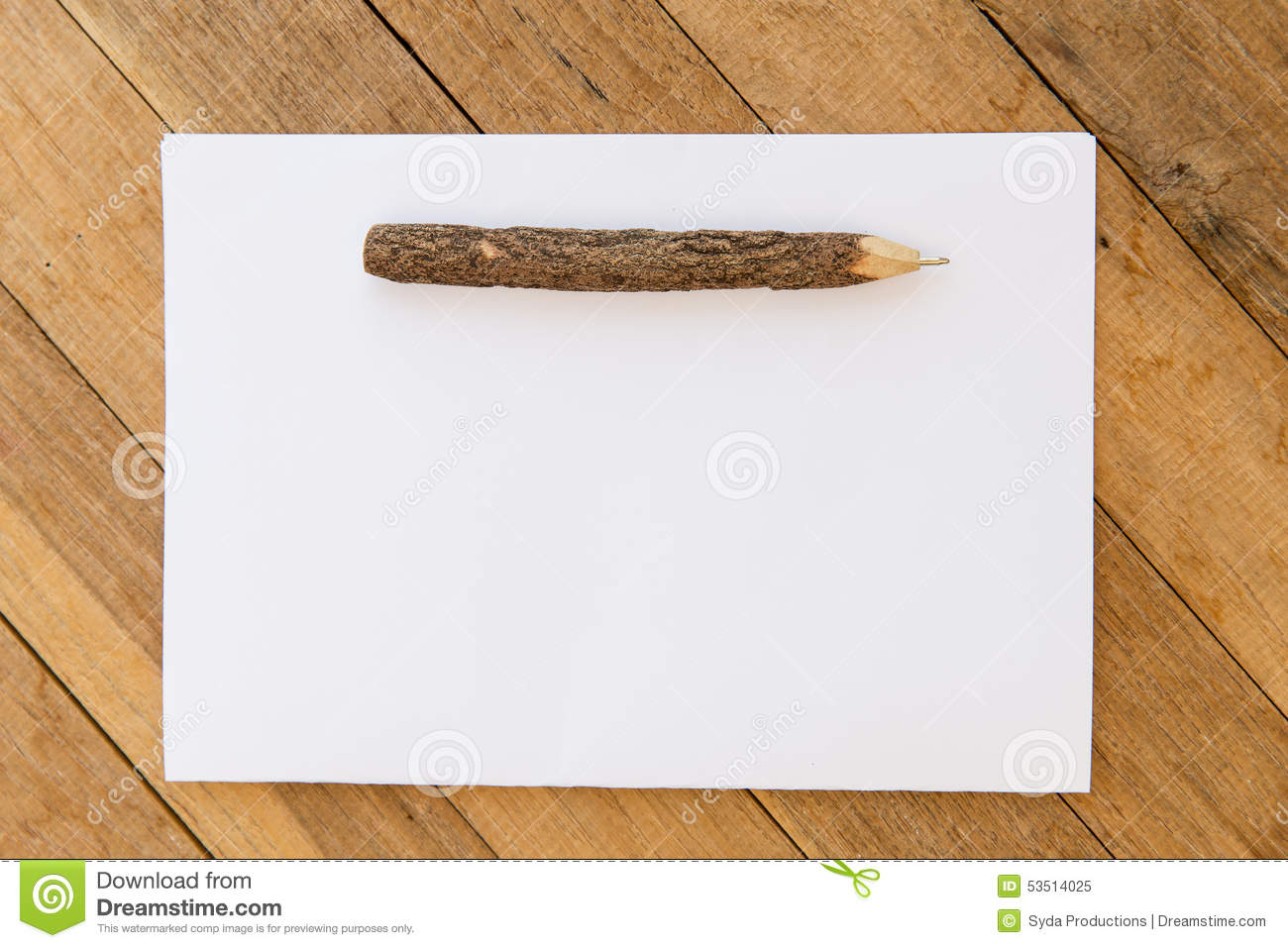 White Blank Paper Sheet With Wooden Pen On Table Stock
