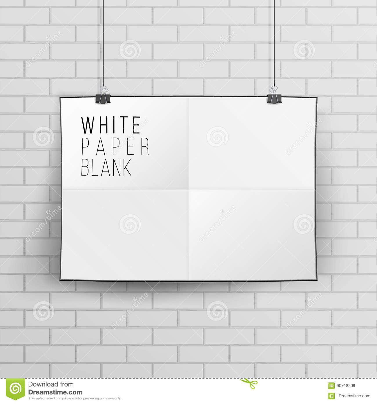 Blank white poster on red brick wall. Paper frame empty template.