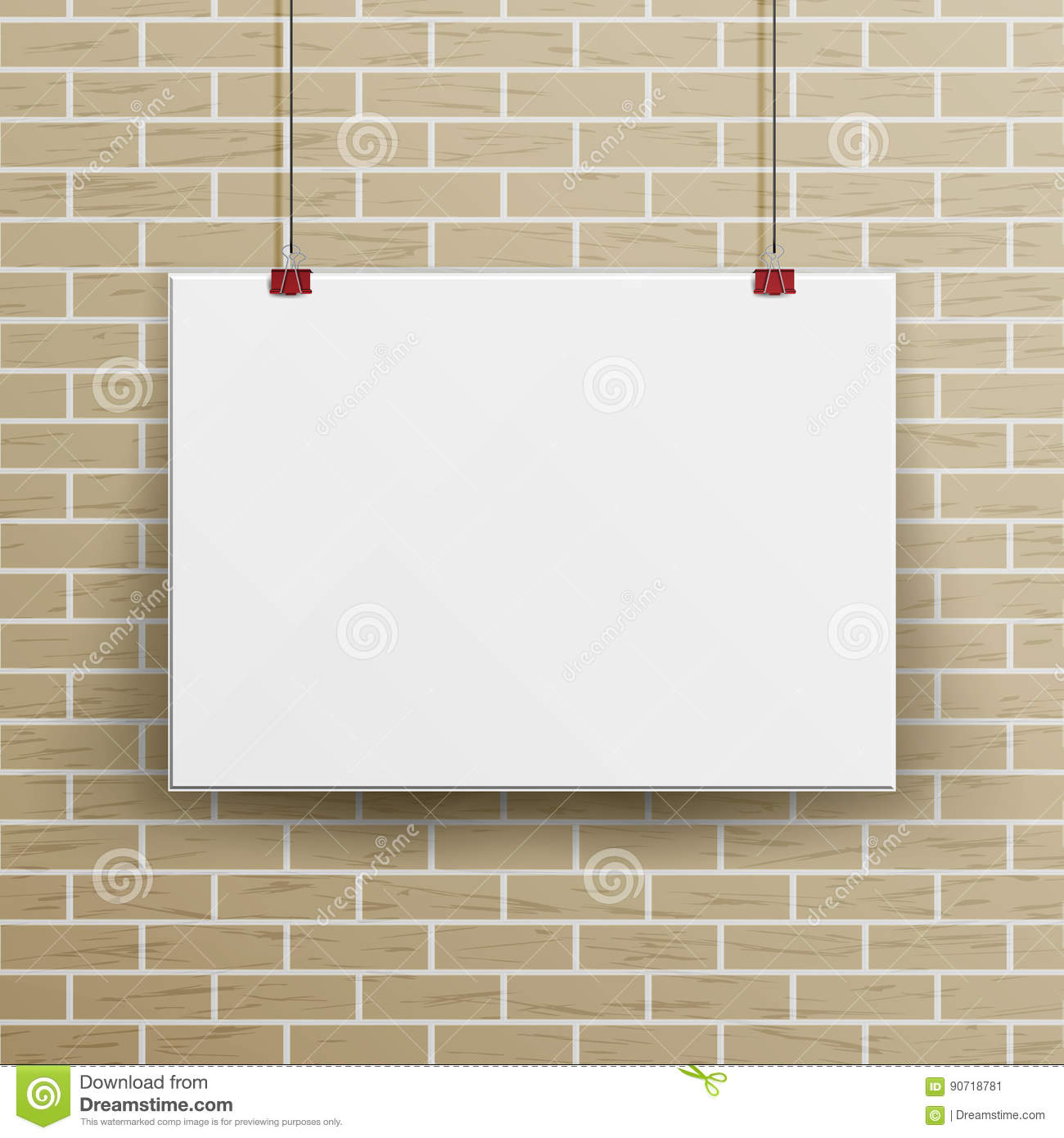 White blank paper wall poster mock up template vector. Realistic.