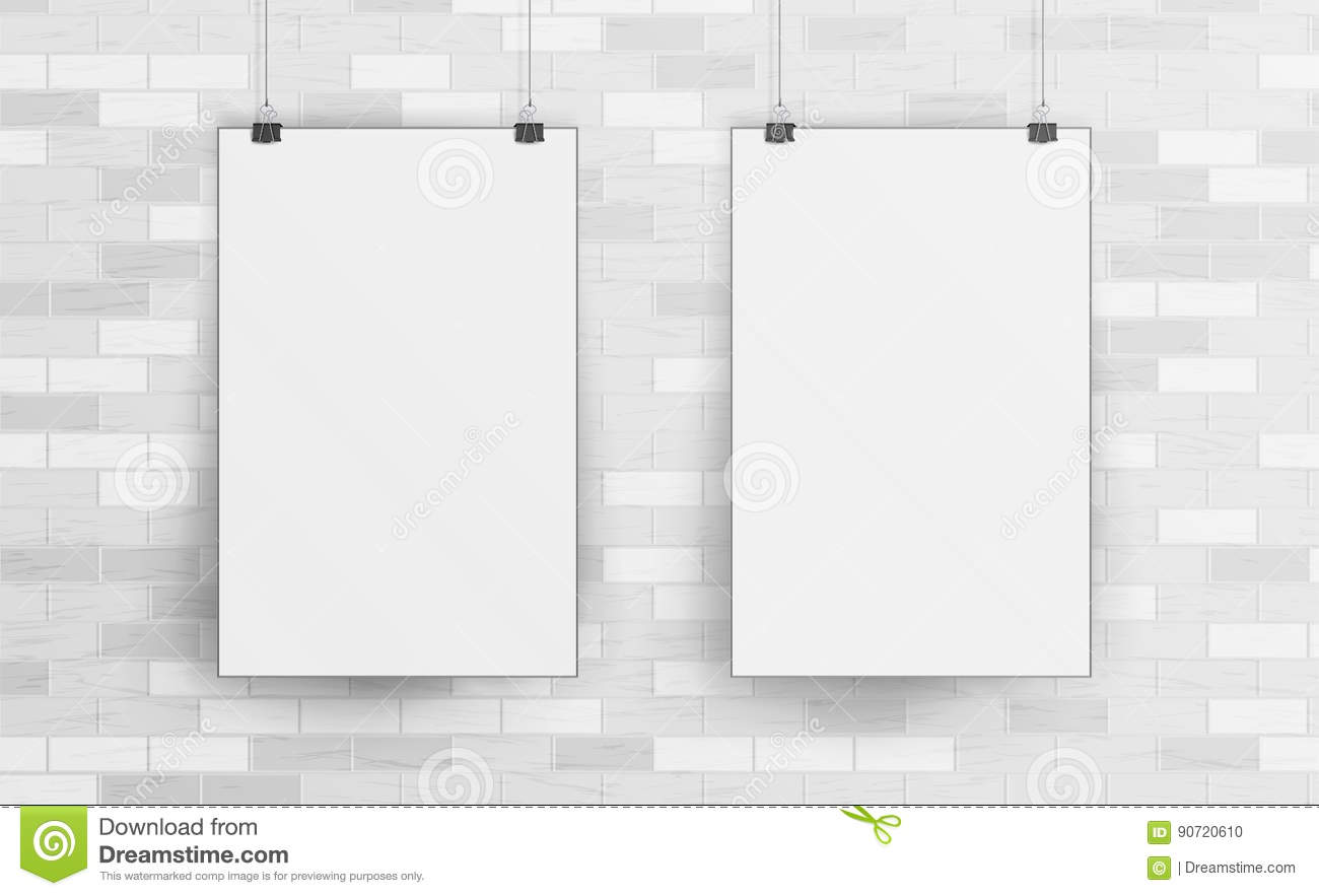 White Blank Paper Wall Poster Mock up Template Vector. Realistic Illustration. Picture Frame On Brick Wall. Front View