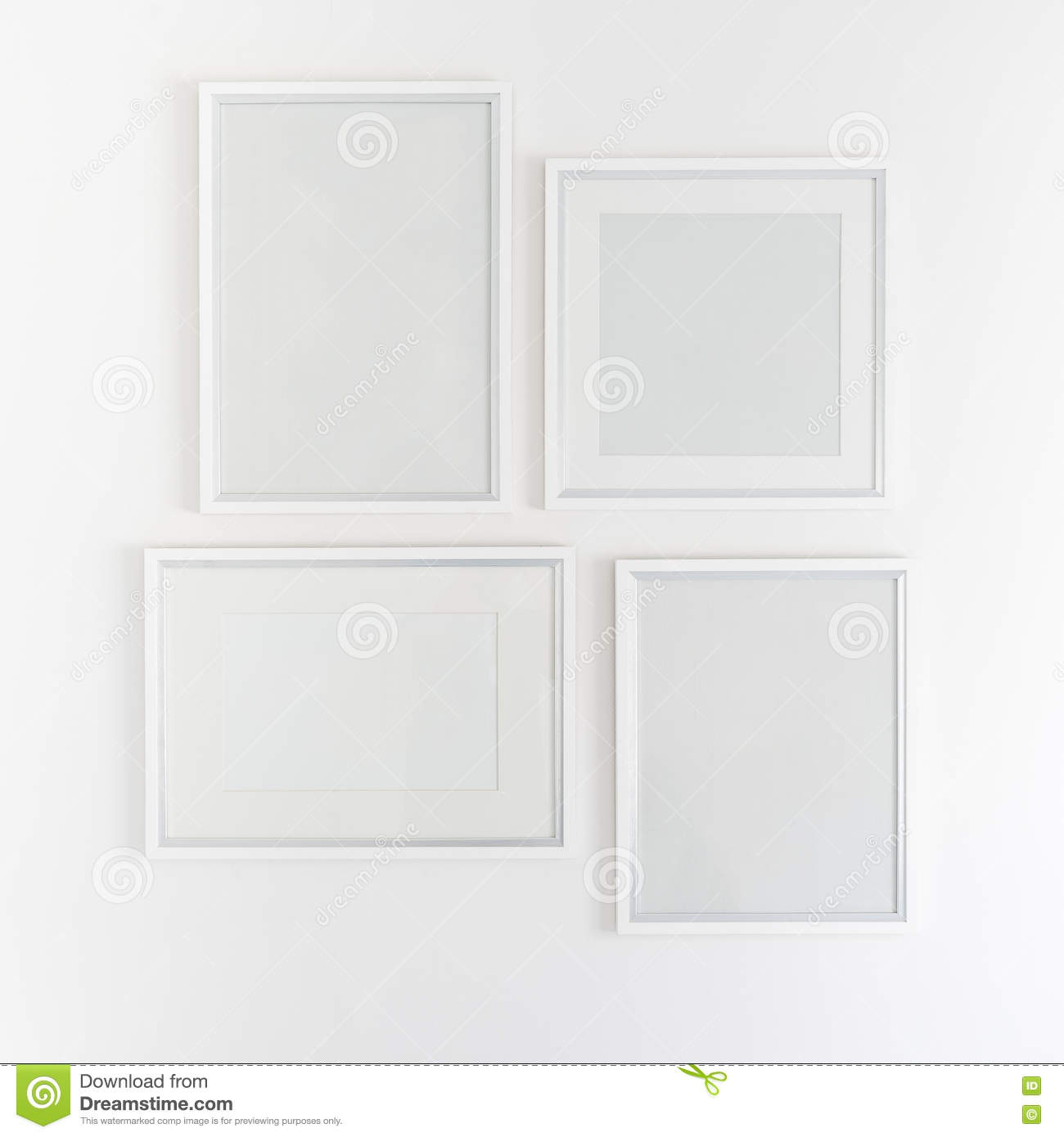 White Blank Picture Frames Hanging On White Stock Image - Image of ...