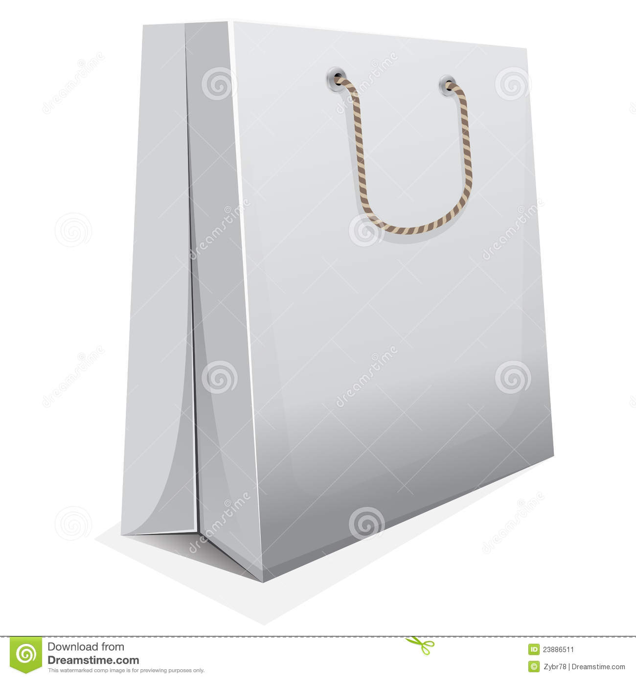 Vector White Blank Shopping Bag With Brown Handle