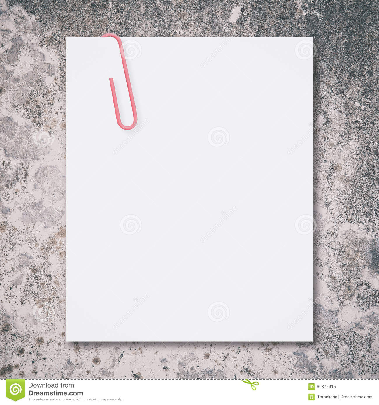 Blank Space: White Blank Space And Red Paper Clip Stock Photo