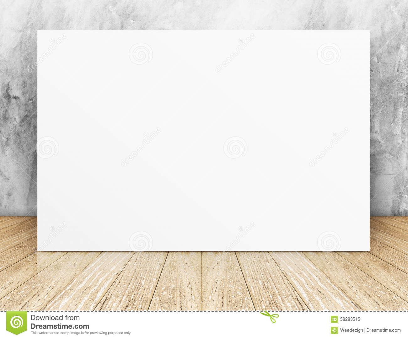 White Blank Square Poster In Concrete Wall And Wooden