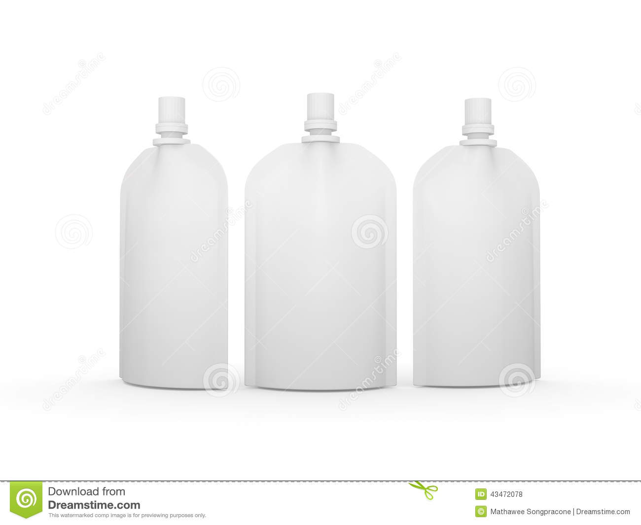 White Blank Stand Up Bag Packaging With Spout Lid