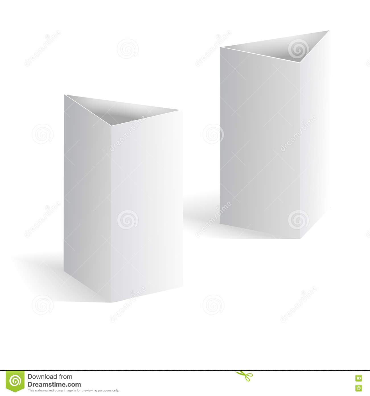 white blank table tent vertical triangle cards on background vector