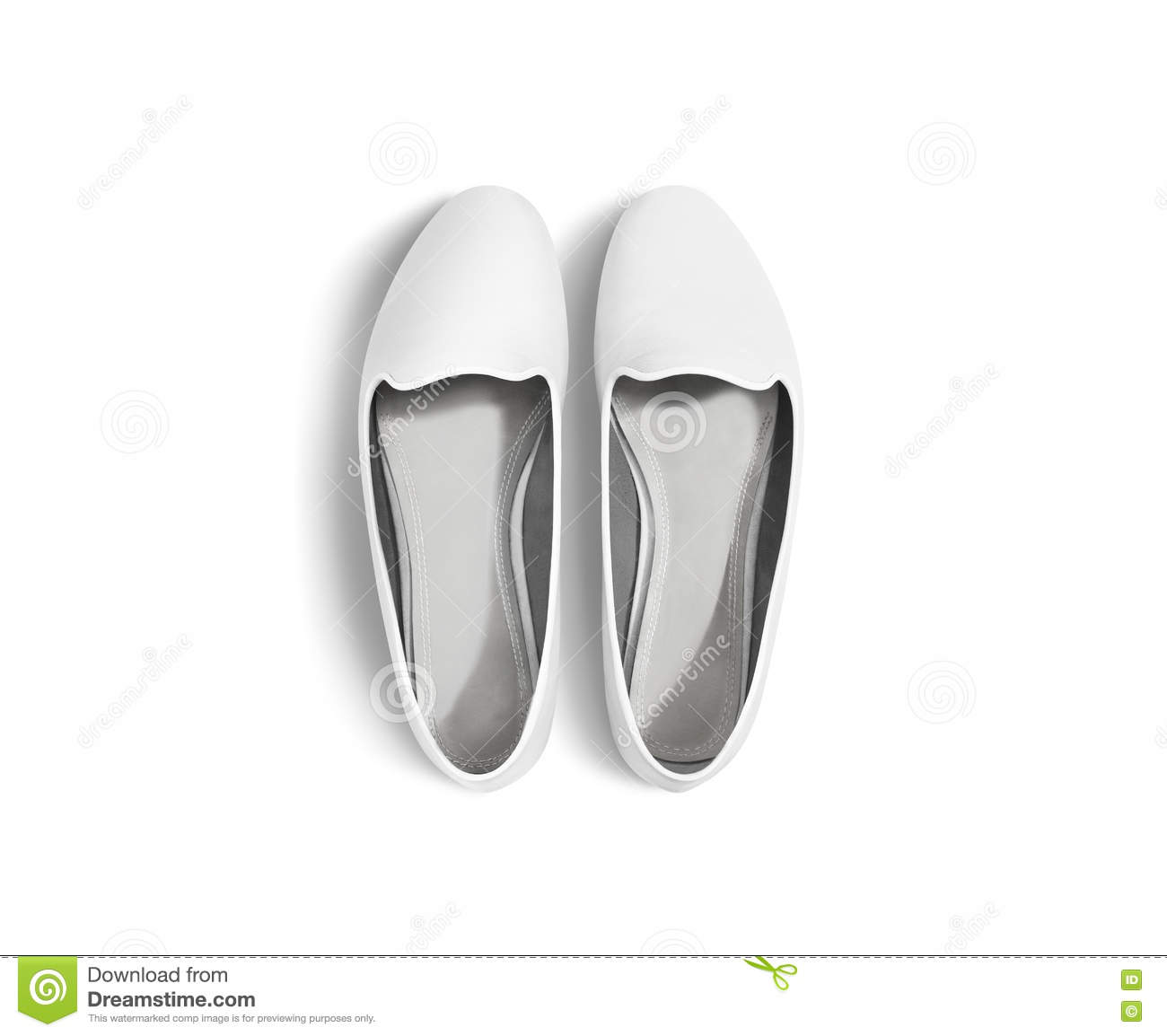 White blank women shoes mockup isolated, top view, clipping path.