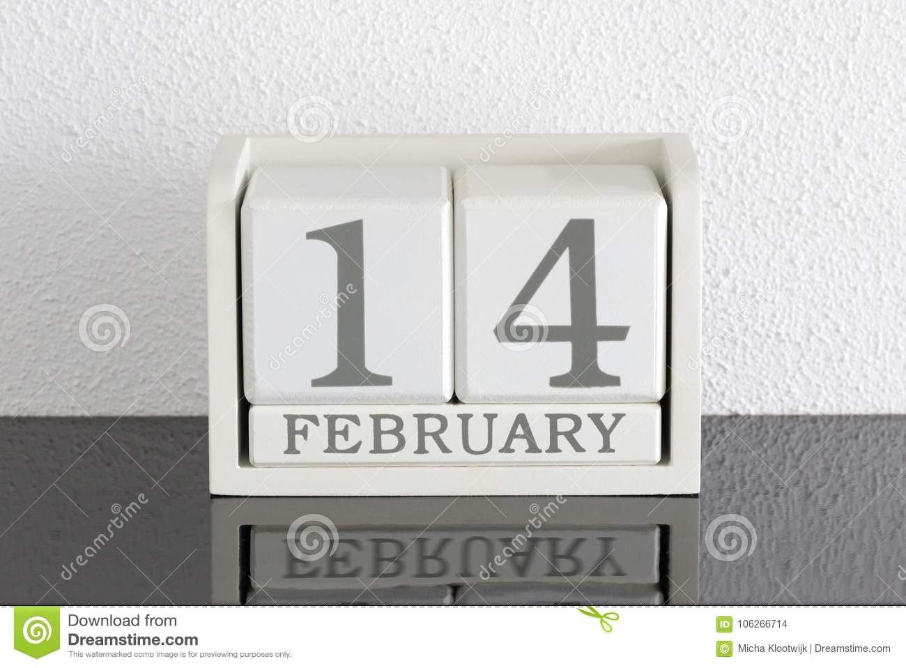White Block Calendar Present Date 14 And Month February Stock Photo ...