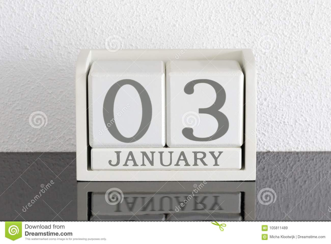 White Block Calendar Present Date 3 And Month January Stock Image ...