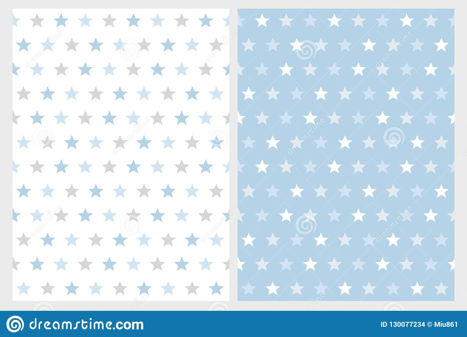 Abstract Star Vector Patterns  White, Light Gray And Blue