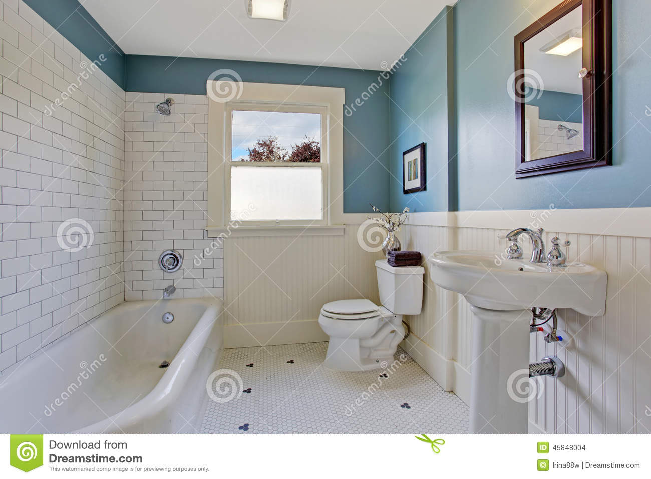 White And Blue Bathroom Interior Stock Photo Image 45848004