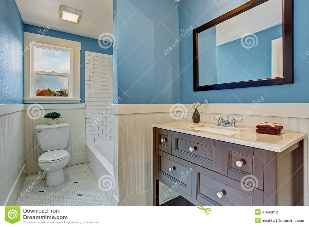 White And Blue Bathroom Interior Stock Photo - Image of room, toilet ...