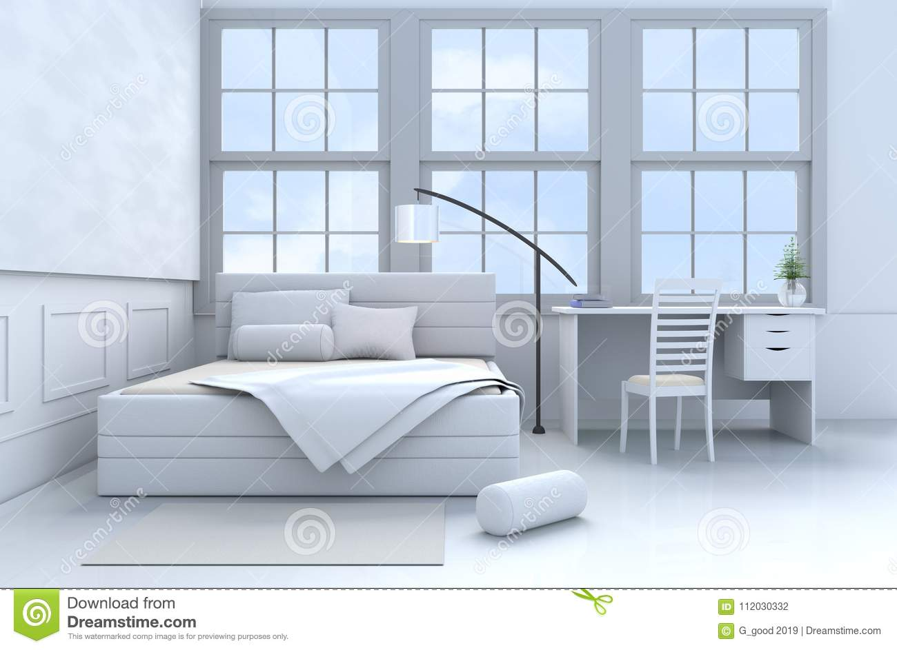 White blue bedroom 3d rendering