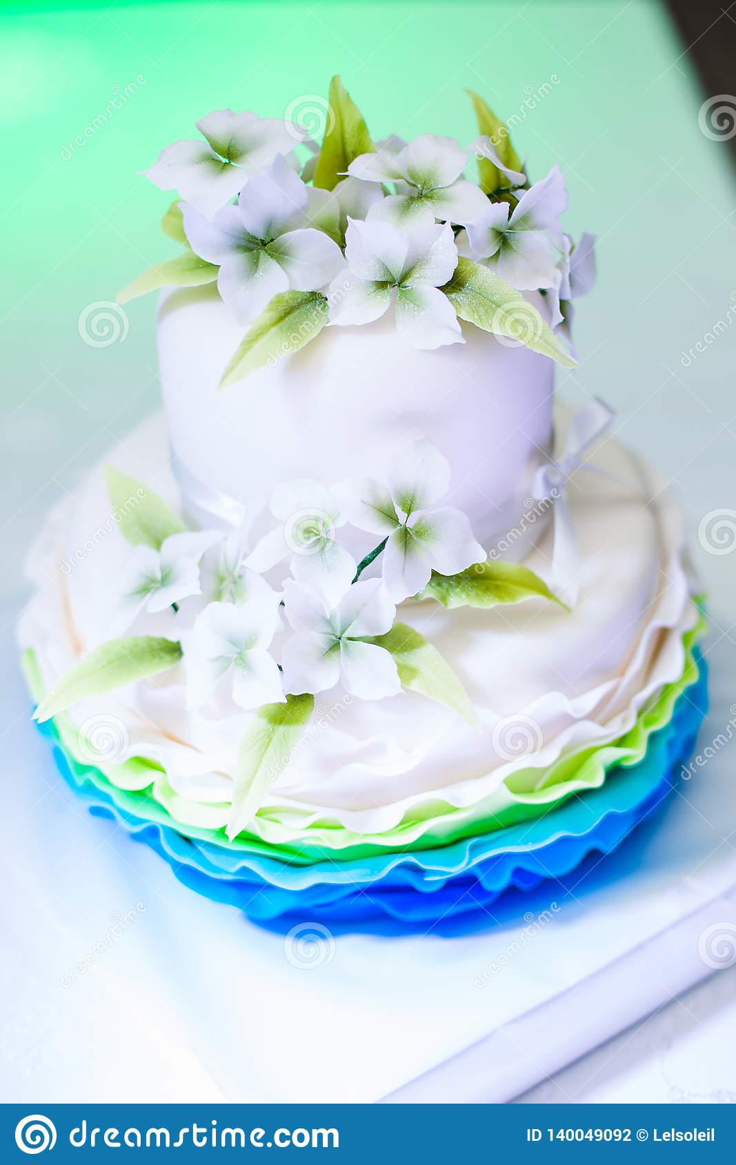 White And Blue Birthday Cake With Nice Flowers For Girl Decorations Party
