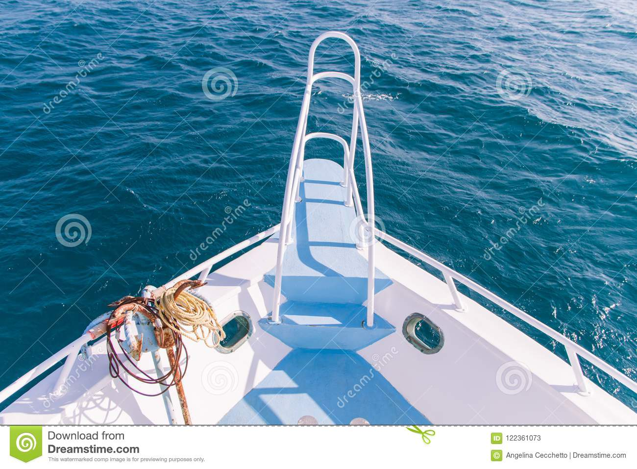 White and Blue Boat Bow and Pullpit with Rusty Anchor and Blue S