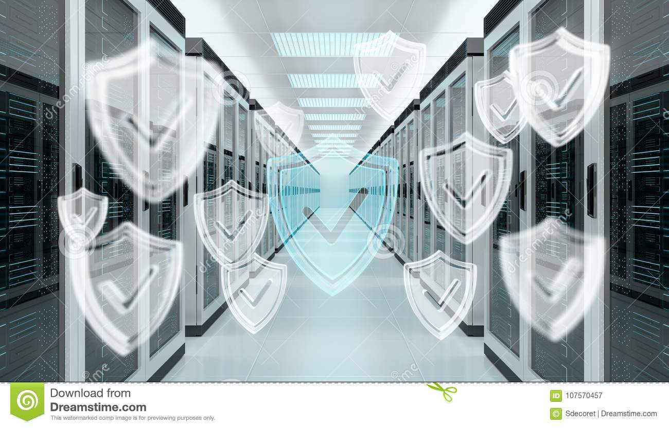 Firewall Activated On Server Room Data Center 3D Rendering Stock