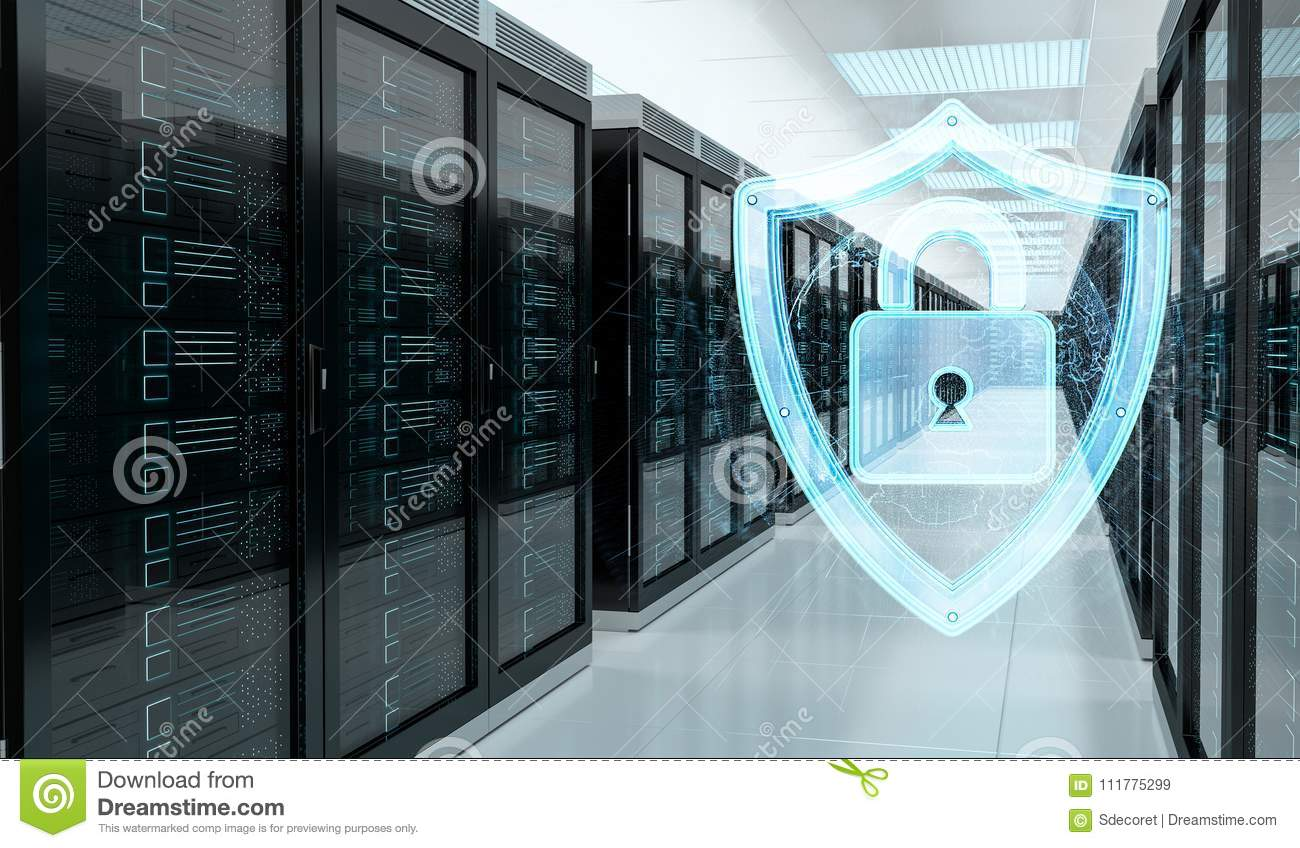 Firewall activated on server room data center 3D rendering