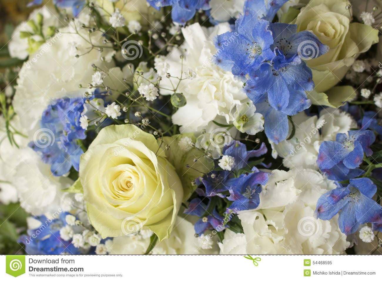 White And Blue Flower Bouquet Stock Image Image Of Decoration