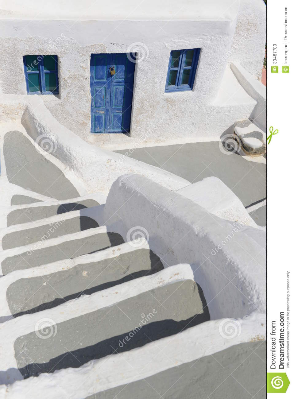 White And Blue House Details In Oia Village Stock Photo